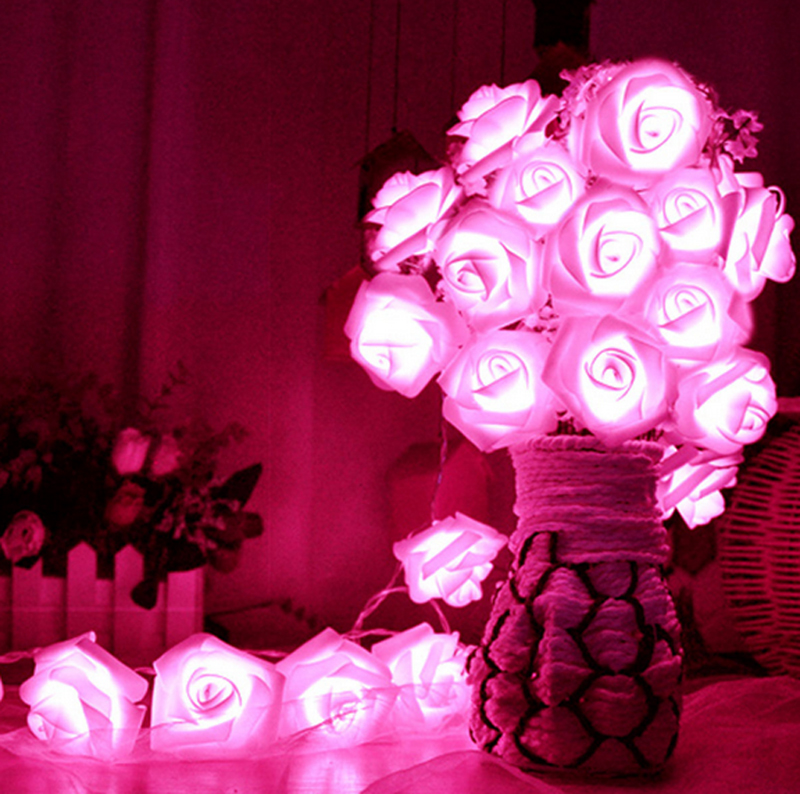 Artificial Nursery Romantic 20 Led Lighting Rose Flower Artificial