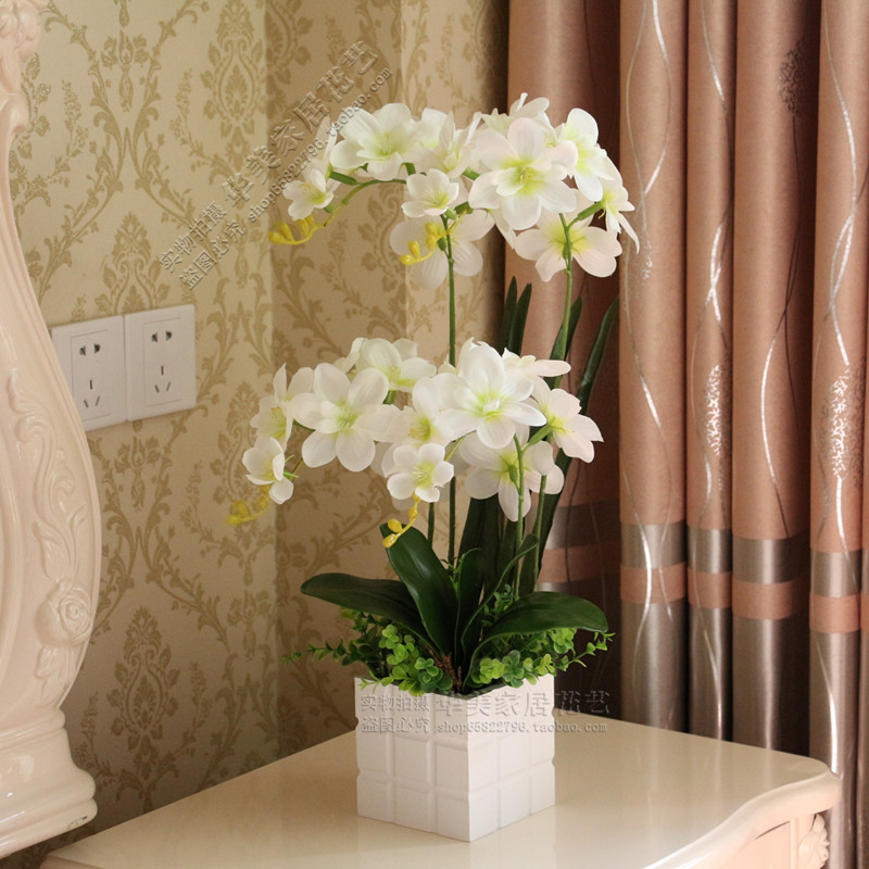 Artificial Nursery 4pcs Artificial Orchid Flower Vase Artificial